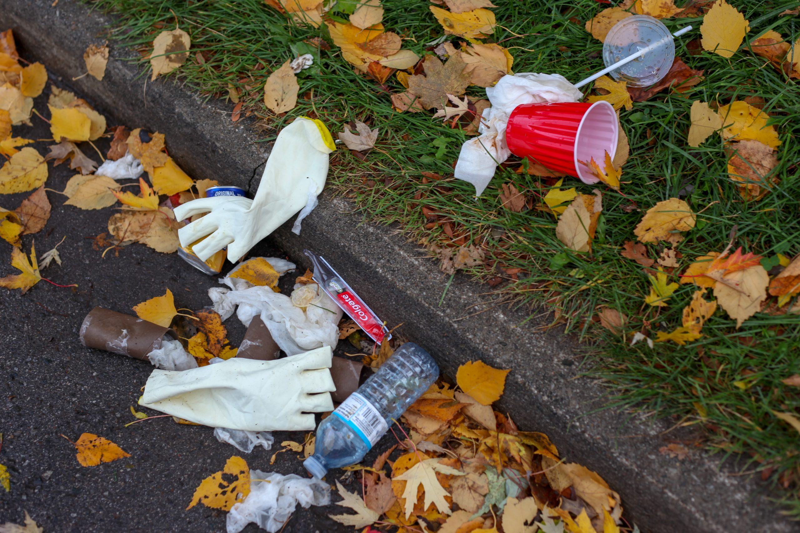 Trash on the Lawn, gloves, cup, waterbottle
